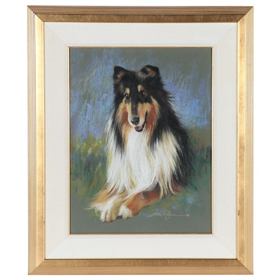 Dodie Rufner Pastel Portrait Drawing of Rough Collie Dog