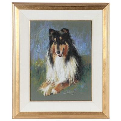 Dodie Rufner Pastel Portrait Drawing of Rough Collie Dog