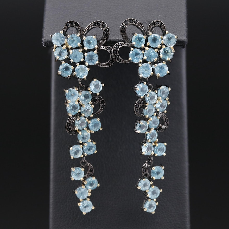 Sterling Silver Apatite and Black Onyx Floral Motif Dangle Earrings