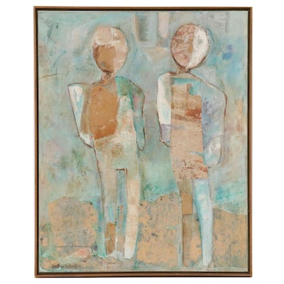 "Heather Metcalf Mixed Media Painting ""You + Me"", 1982"