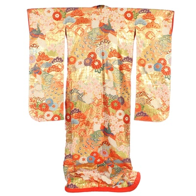 Peacock and Floral Red Brocade Uchikake Wedding Kimono