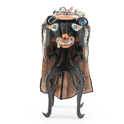 Children's Chinese Embroidered and Appliquéd Silk Tiger Wind Hat with Stand