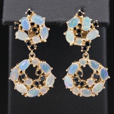 Sterling Silver Opal and Black Onyx Dangle Earrings