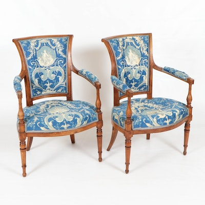 Pair of Italian Walnut Armchairs, Late 18th/Early 19th Century