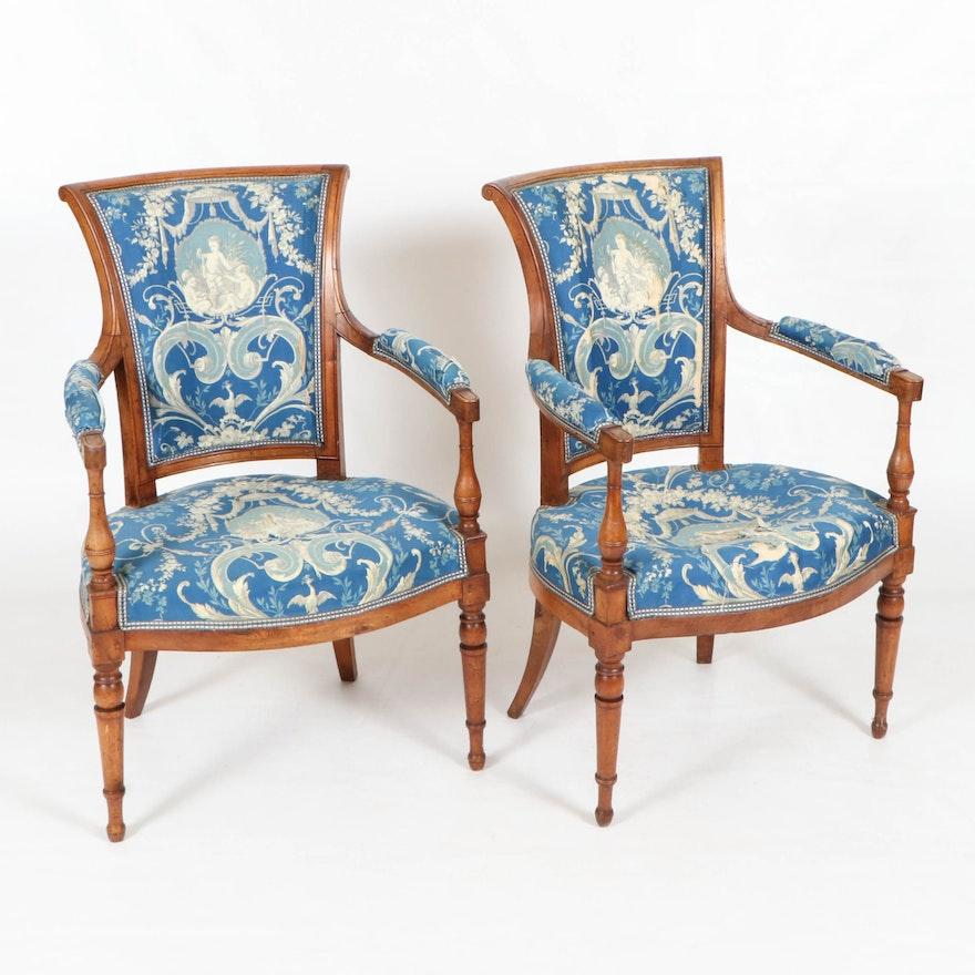 Pair of Italian Walnut Armchairs, Late 18th/Early 19th Century