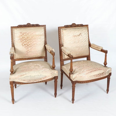 Pair of Louis XVI Style Carved Wood Armchairs, Early 20th Century