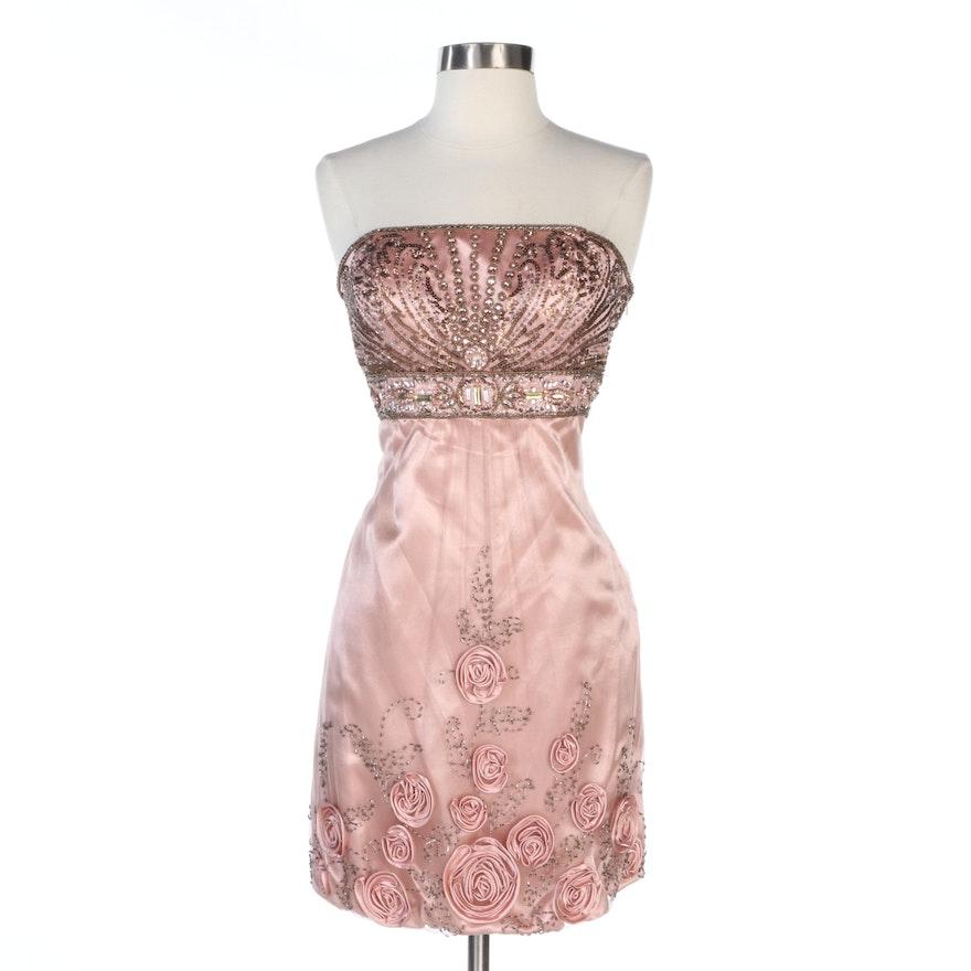 Sue Wong Strapless Beaded Rosette Hem Dress in Blush
