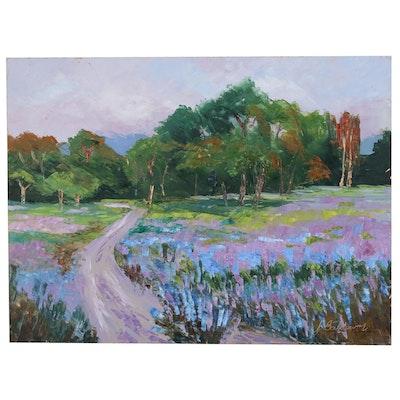 "James Baldoumas Landscape Oil Painting ""Blooming Hillside"", 2020"