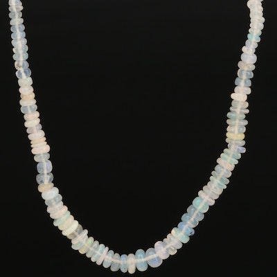 Sterling Silver Beaded Opal Necklace