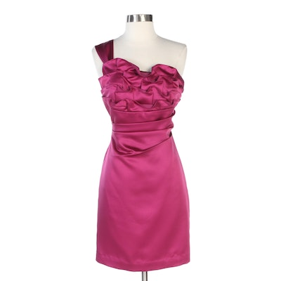 Phoebe Couture One-Shoulder Pleated Ruffle Dress in Fuchsia