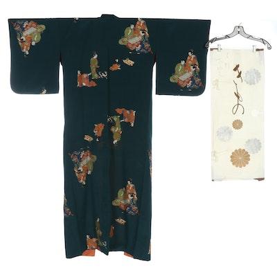 Dark Peacock Green Kimono Depicting Figures Engaged in Activities with Tatoshi