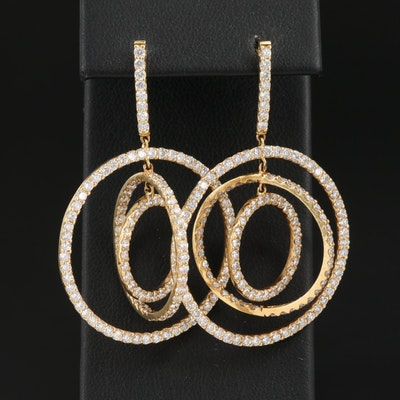 18K 6.25 CTW Diamond Concentric Dangle Earrings