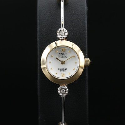 Anne Klein MOP Dial Two Tone Diamond Quartz Wristwatch