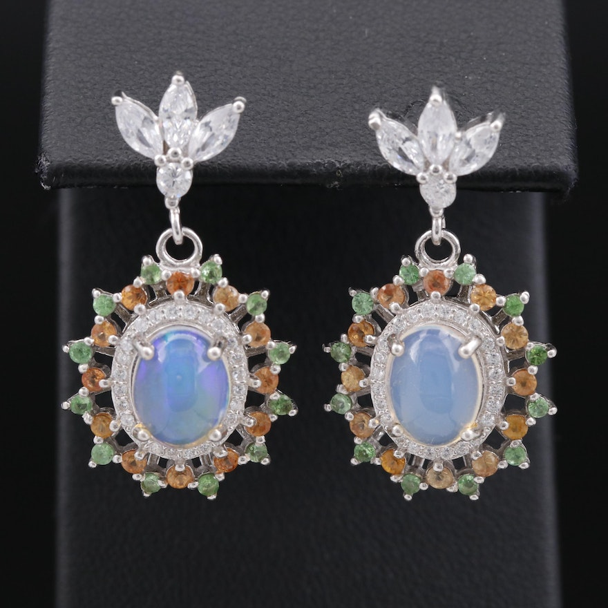 Sterling Silver Opal, Quartz and Cubic Zirconia Dangle Earrings