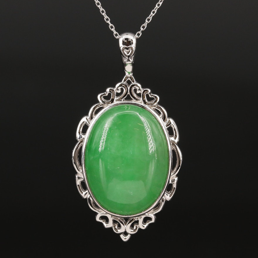 Sterling Silver Jadeite Oval Pendant Necklace
