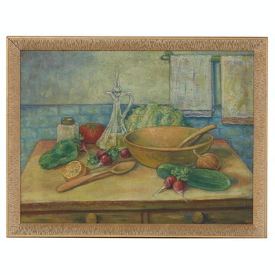 Tablescape Oil Painting with Vegetables, 20th Century