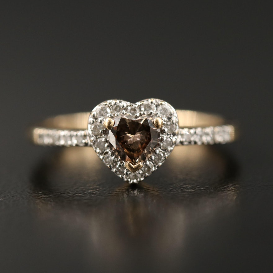 14K Fancy Brown Diamond Heart Ring with Diamond Lined Shoulders and Halo
