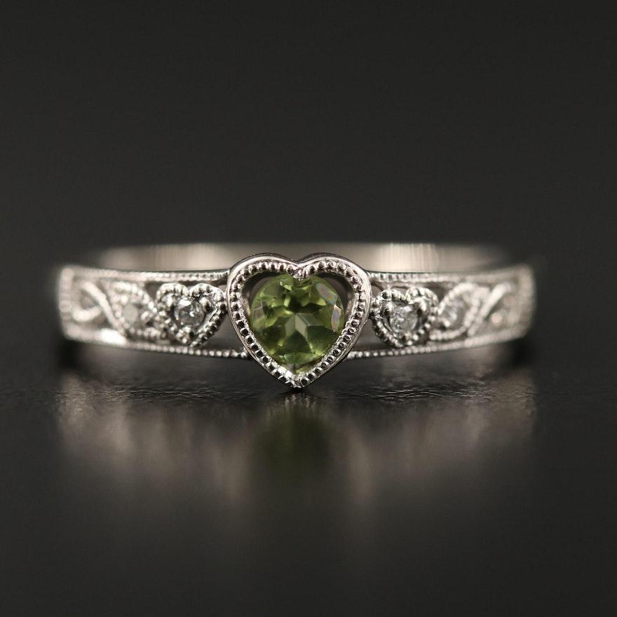 10K Peridot and Diamond Heart Ring