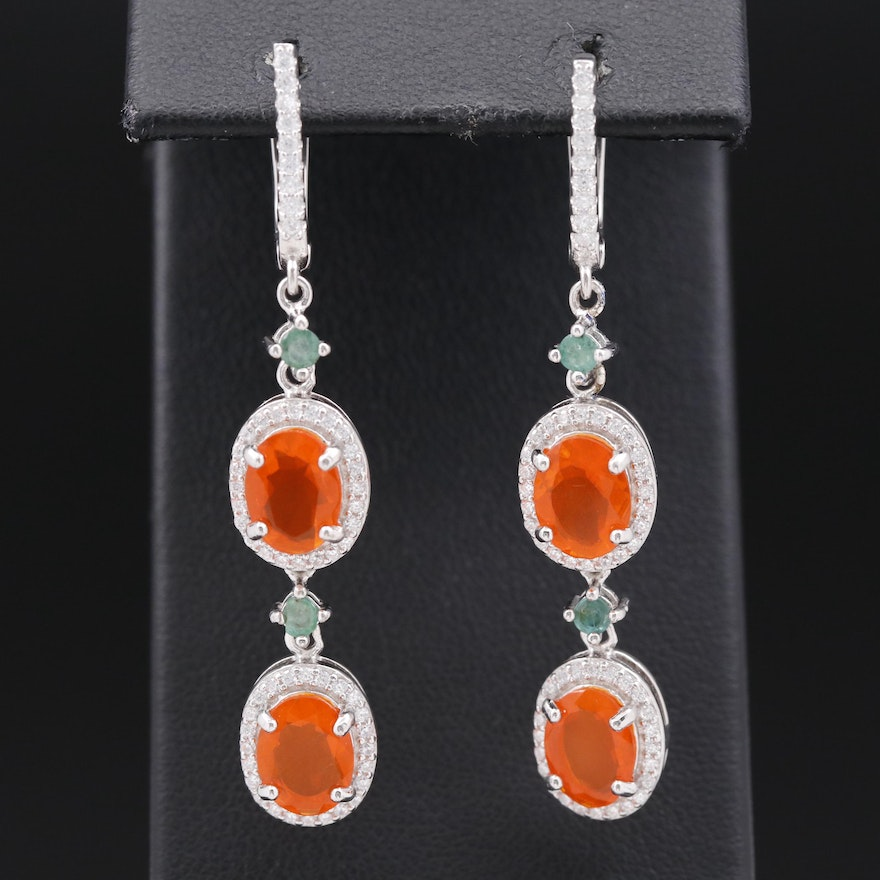 Sterling Silver Fire Opal, Emerald and Cubic Zirconia Halo Dangle Earrings