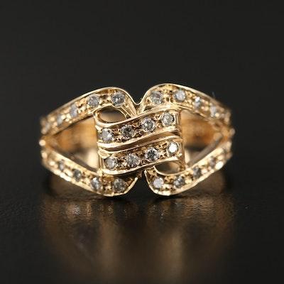 14K Diamond Knot Motif Ring