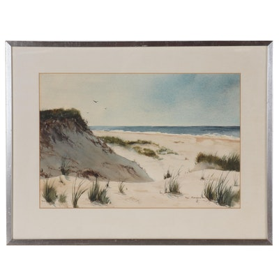 Paul Montgomery Watercolor Painting of Coastal Scene