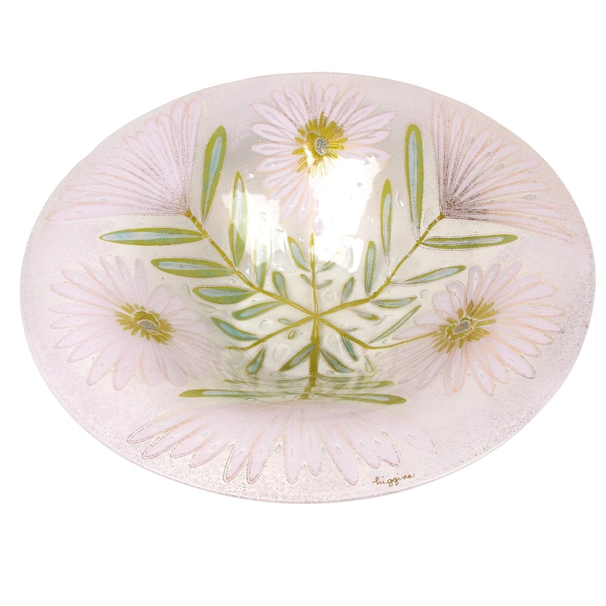 Higgins Fused Art Glass Centerpiece Bowl with Floral Motif