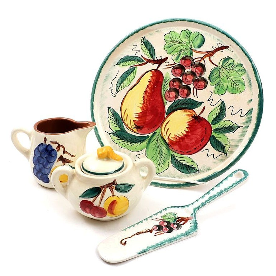 Stangle and MG Ironstone Hand-Painted Serveware with Teapot