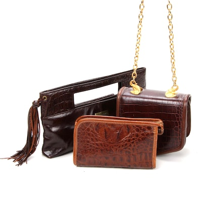 Brahmin Pouch, Charles David and Other Reptile Embossed Leather Handbags