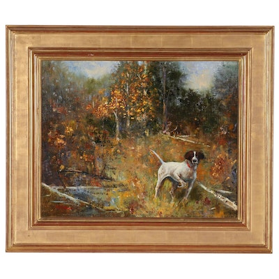 Val Gottesman Oil Painting of Hunting Dog in Landscape