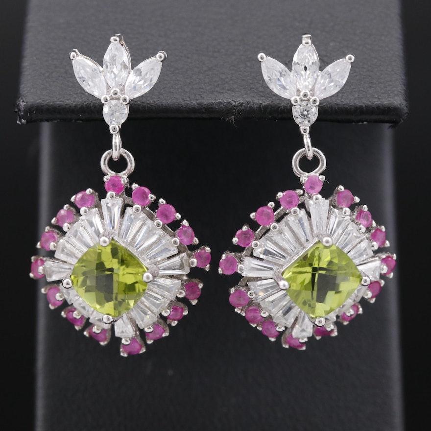 Sterling Silver Peridot, Ruby and Cubic Zirconia Dangle Earrings