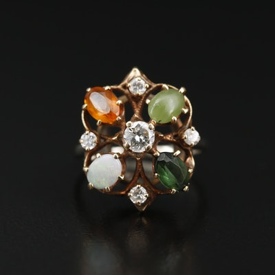 Vintage 14K Diamond and Gemstone Ring