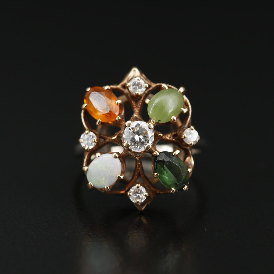 Vintage 14K Diamond and Gemstone Ring