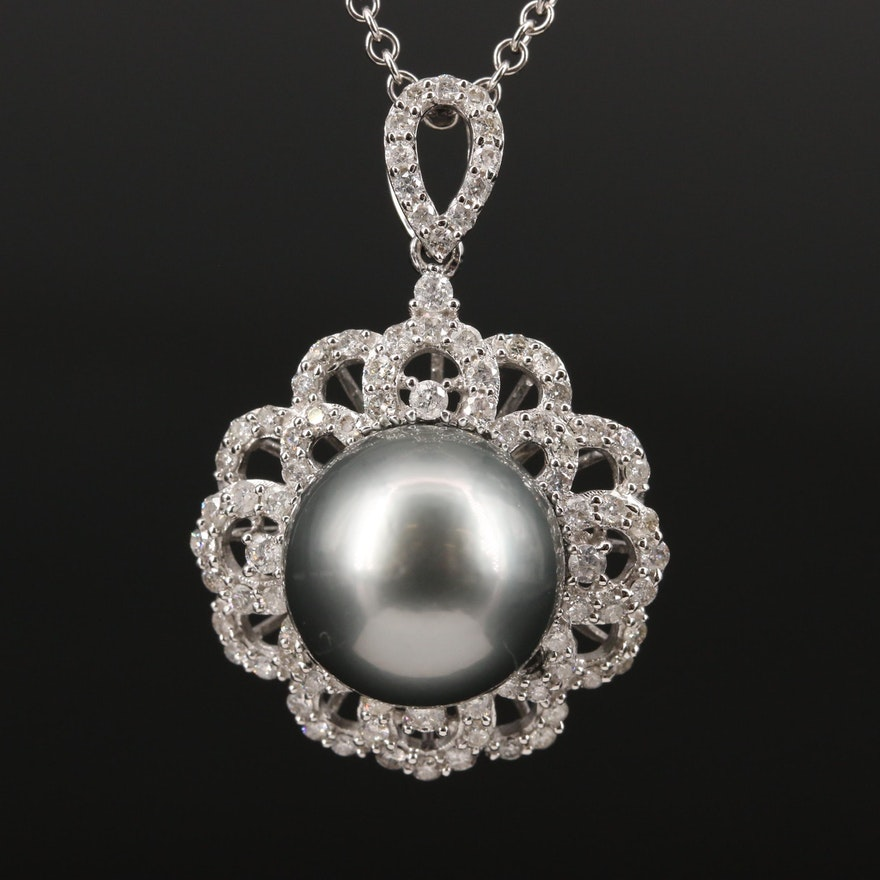 18K Pearl and Diamond Pendant Necklace