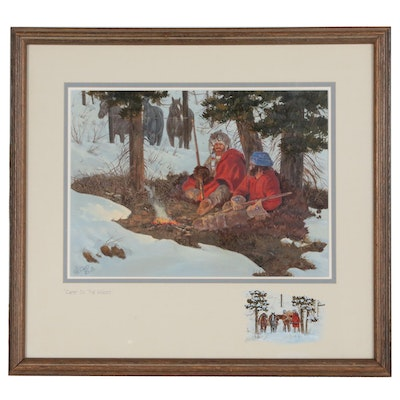 "Ron Stewart Western Genre Oil and Gouache Painting ""Camp in the Woods"""