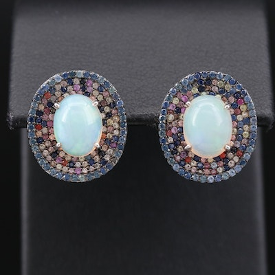 Sterling Silver  Pavé Opal and Sapphire Halo Earrings