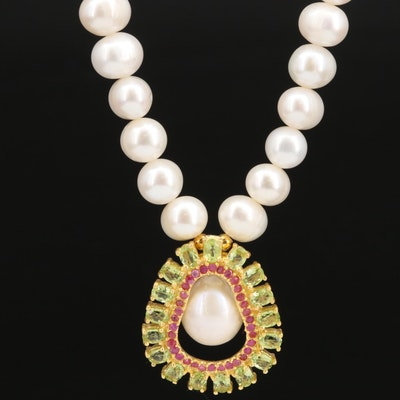 Sterling Silver Peridot and Ruby Pendant on Pearl Strand Necklace