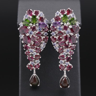 Sterling Garnet, Diopside and Opal Cluster Drop Earrings