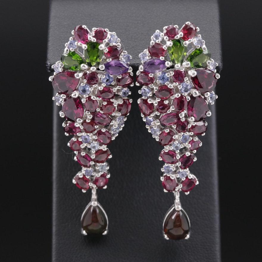 Sterling Garnet, Diopside and Opal Cluster Drop Earrings