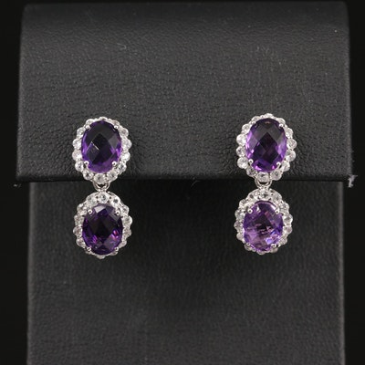 Silver Silver Amethyst and Topaz Dangle Earrings