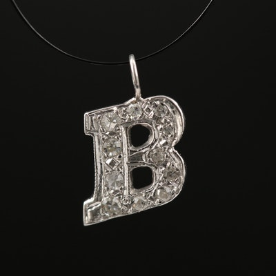"14K Diamond Monogram ""B"" Pendant"