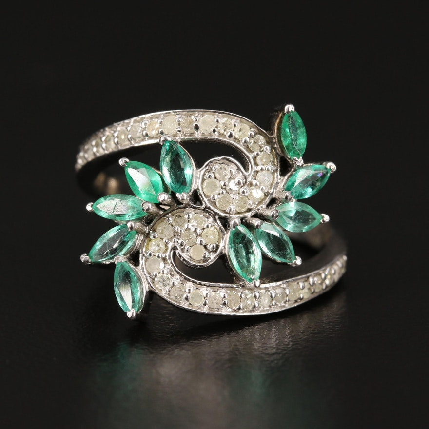 Sterling Silver Emerald and Diamond Bypass Ring