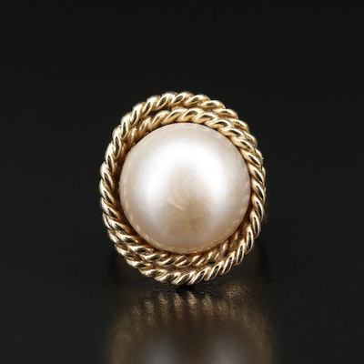 14K Mabé Pearl Ring with Twisted Rope Bezel