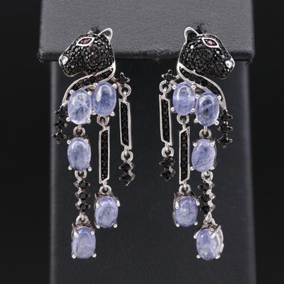Sterling Silver Tanzanite, Black Onyx and Ruby Panther Motif Dangle Earrings