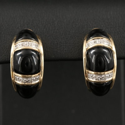 14K Black Onyx and Diamond J-Hoop Earrings