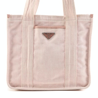 Prada Pink Misto Lino Canvas Shopping Tote with Leather Trim