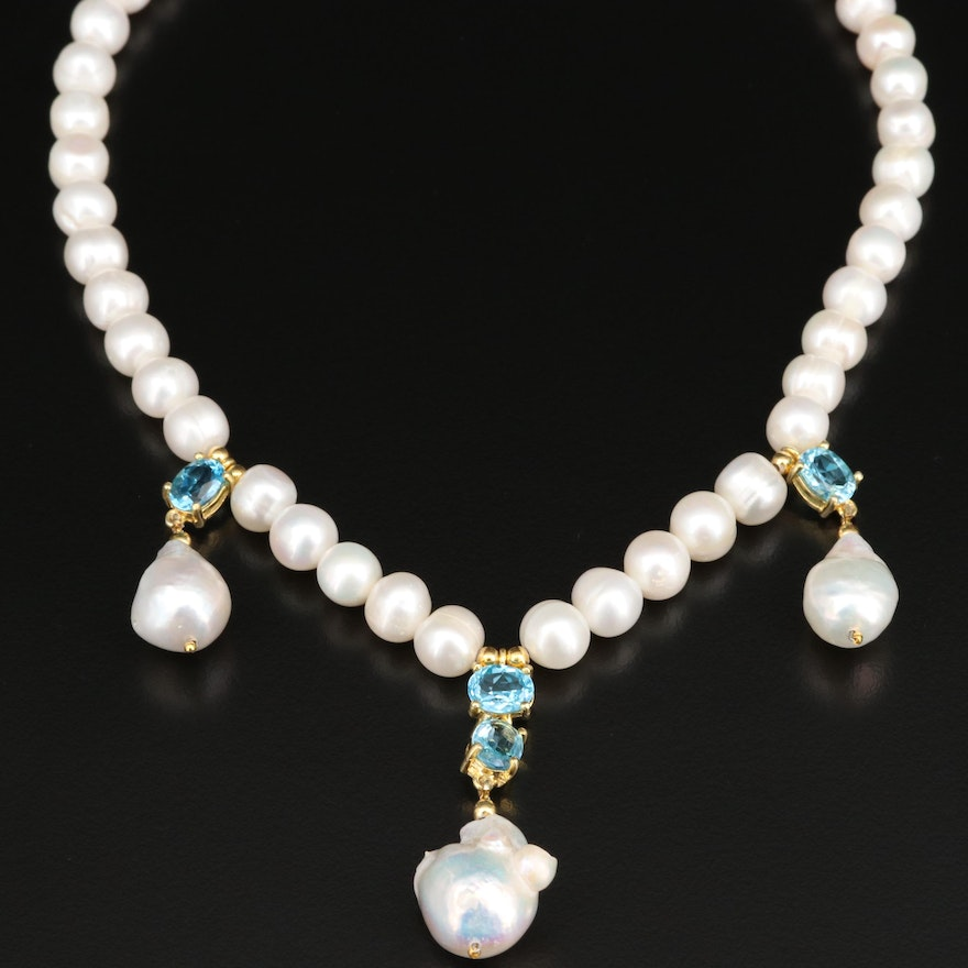Swiss Blue Topaz and Pearl Strand Drop Necklace