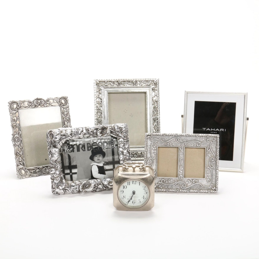 Henri Bendel, Tahari and Other Silver Frames with Pottery Barn Desk Clock