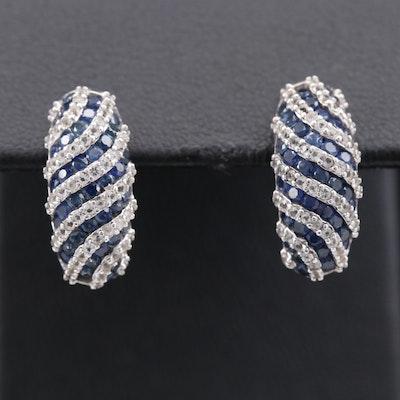 Sterling Silver Sapphire Striped Earrings