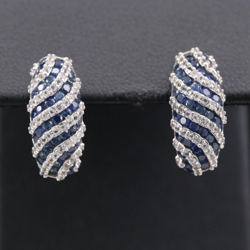 Sterling Silver Sapphire Striped Earrings