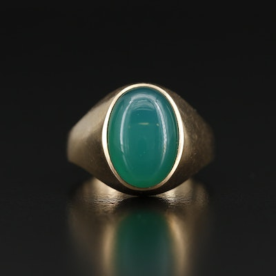 10K Chalcedony Oval Cabochon Ring